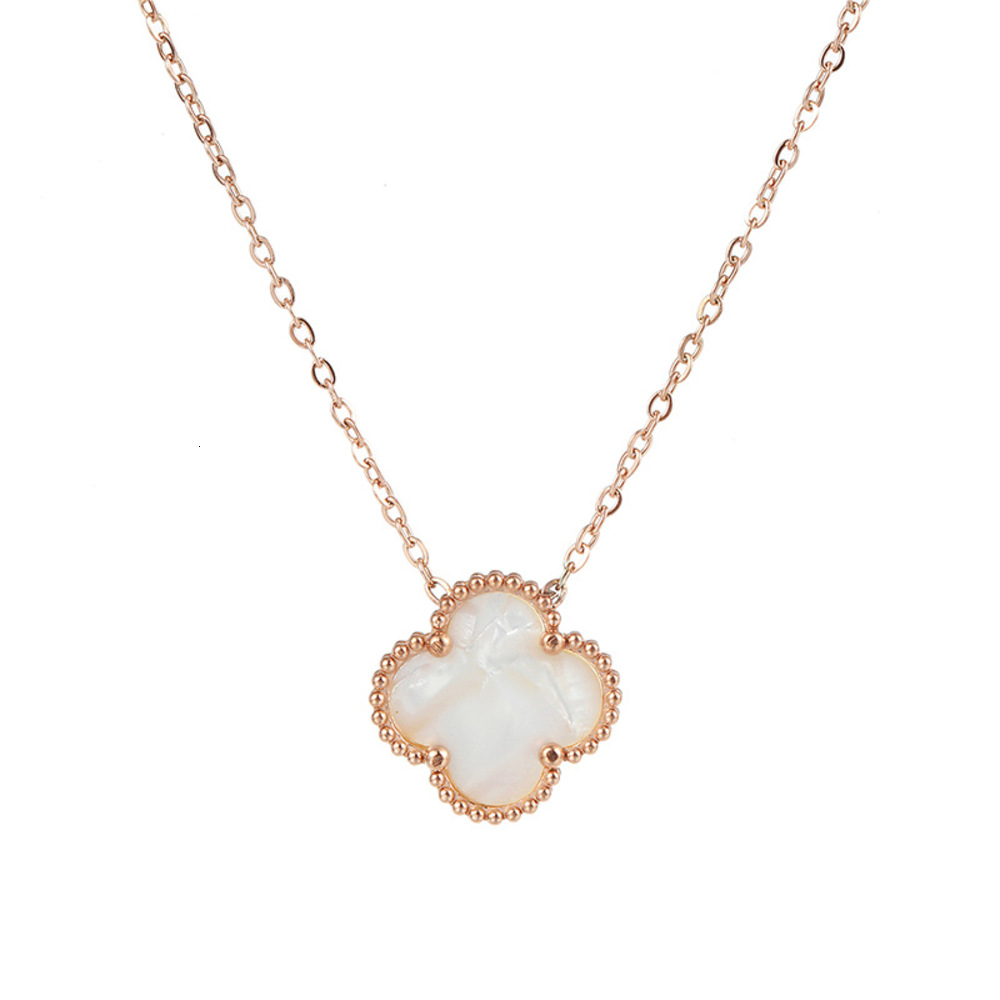 Wholale Ladi Clover Shell Pendant Stainls Steel 18K Rose Gold Women Necklace