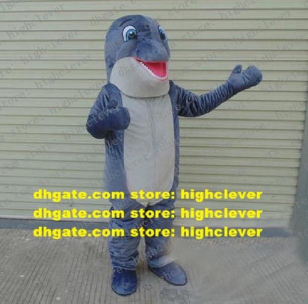 Yauld Blue Dolphin Mascot Costume Porpoise Sea Hog Delphinids Whale Cetacean Mascota Costumes Cartoon Character Mascotte Gray Belly Chin ZZ1825