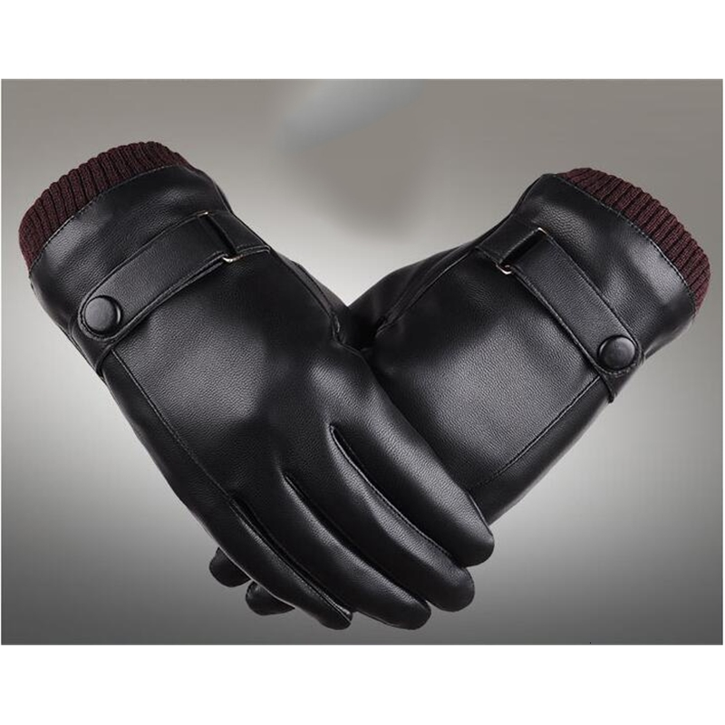 Mens Womens Designer PU Leather Gloves Winter Five Fingers Gloves Finger Protected Warm Keeping Faux Leather Gloves