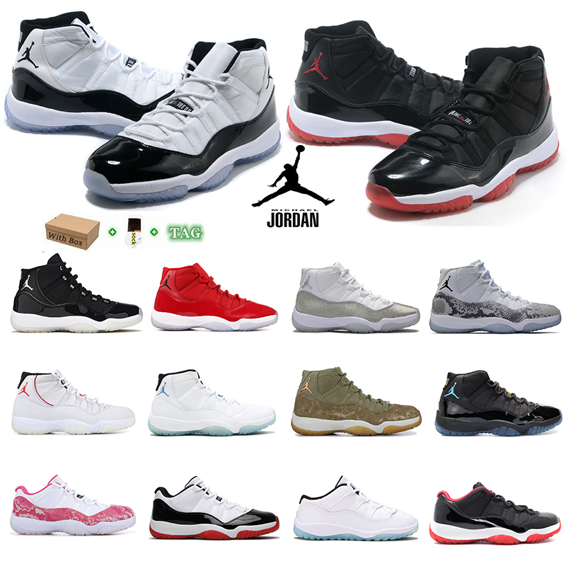 Jubilee 25th anniversary jumpman 11s mens basketball shoes 11 Legend blue low Bright Citrus high concord 45 bred space jam pantone sports trainers sneakers 36-46