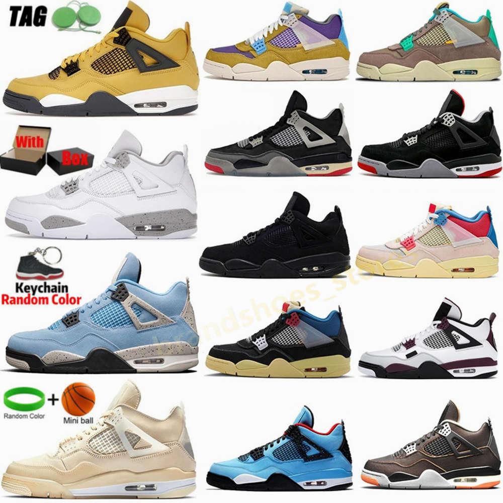 2021 Lightning 4 Mens Basketball Shoes Jumpman 4s White University Blue Black Cat Fire Red Taupe Haze Desert Moss Bred Sail Womens mikee