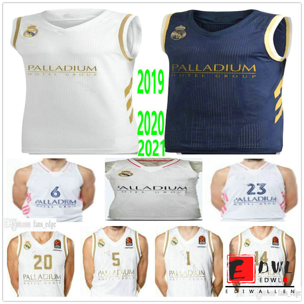 Custom Printed Real Madrid Basketball Jerseys 23 Sergio Llull 5 Rudy Fernandez 1 Fabien Causeur 7 Facundo Campazzo 8 Nicolas Laprovittola 7 Luka Doncic
