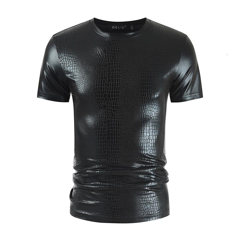 Men's summer gilded snake skin round neck short sleeve T-shirt