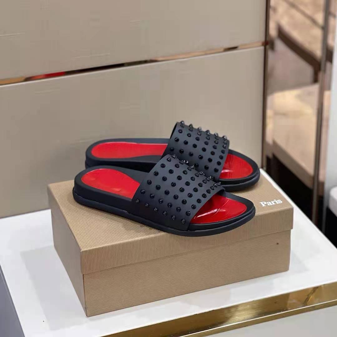 with box Slippers mens summer wear outdoor anti-skid rivets flip-flops2021 fashion trend personality orange beach sandals red bottom tide size 38-47
