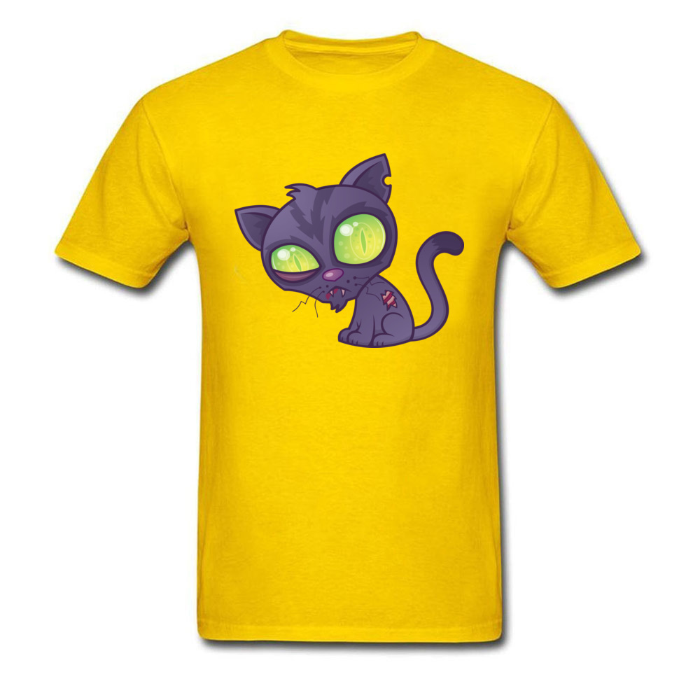 Round Neck Zombie Kitty 100% Cotton Mens T-shirts Customized Short Sleeve Tees Funny Cool T Shirts Free Shipping Zombie Kitty yellow