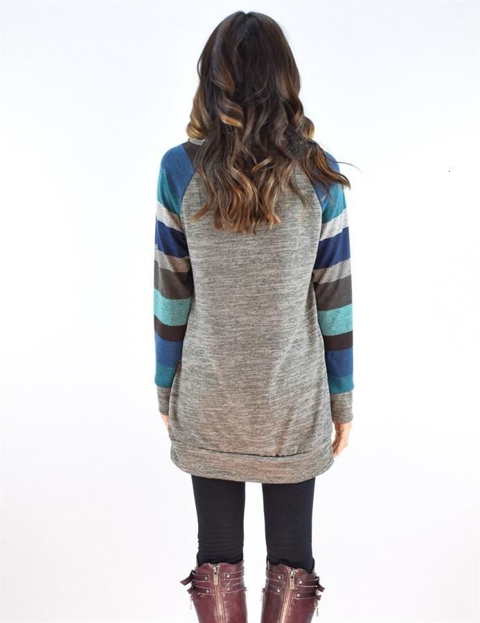 Stripes Sleeve Hoodies Women Long Sleeve Hoodie Sweatshirt Ladies Casual Loose Coat Pullover Top