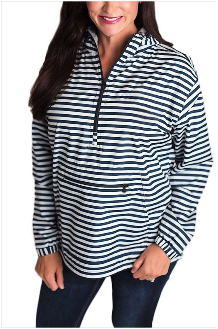 women zipper hooded Jacket stripe middle front pocket pullover high quality monogrammed blank women long sleeve jersey with hoodie