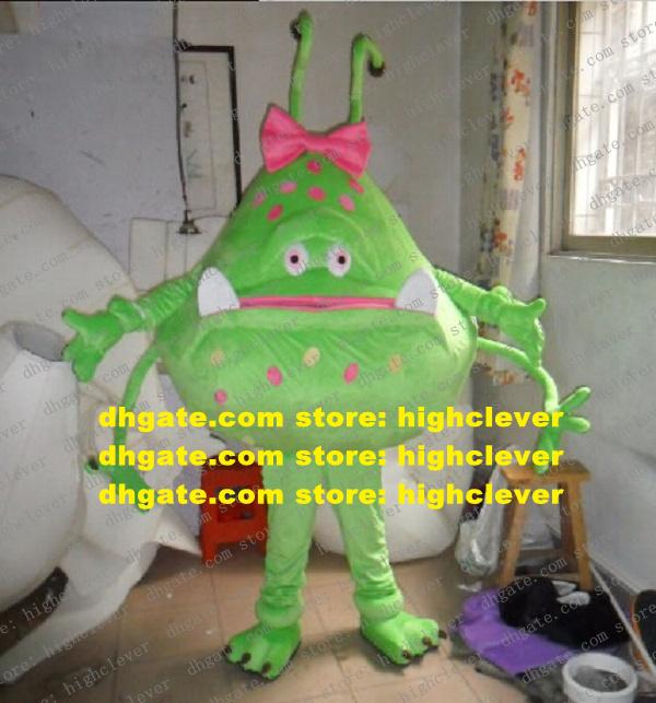 Beautiful Green Germ Bacteria Virus Mascot Costume Inframicrobe Zymad Zyme Wog Mascota Costumes Cartoon Character Mascotte Adult No.9490 Free Ship