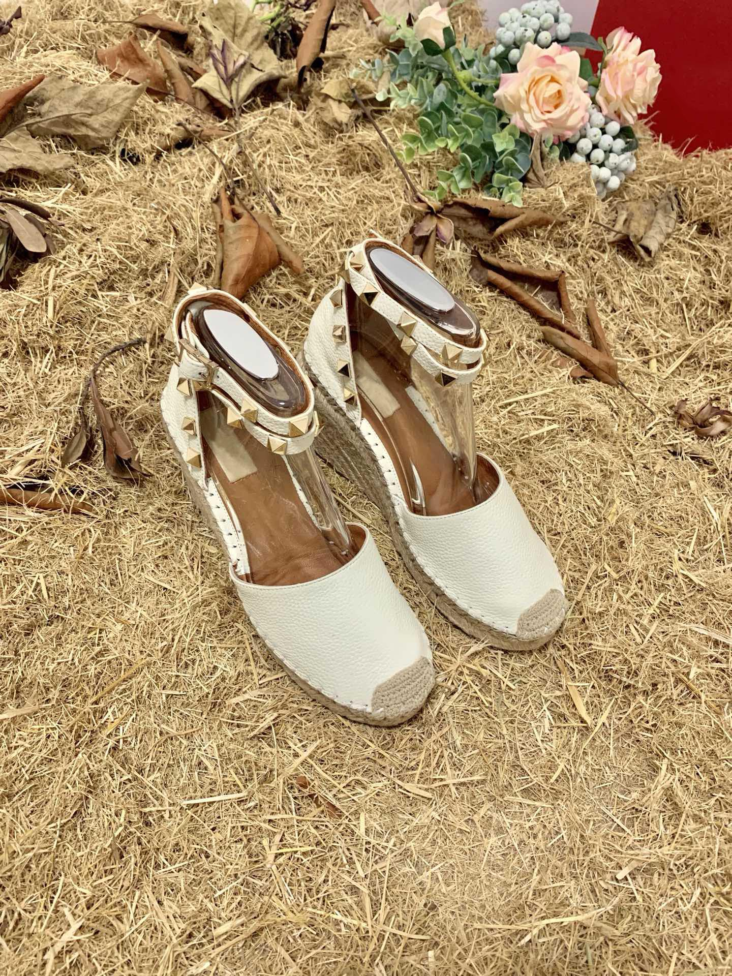 2021 luxury designer wedge sandals fashion straw shoes platform fisherman shoes large size 40 41 with box