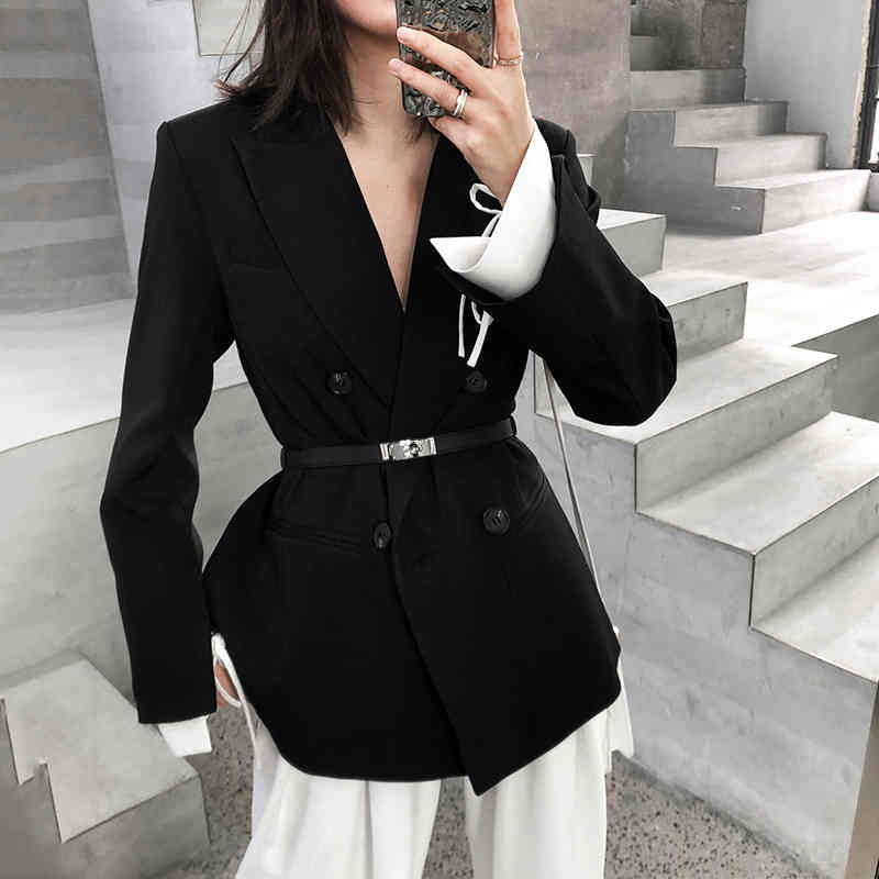 EAM] Women Black Cuff Bandage Temperament Blazer New Lapel Long Sleeve Loose Fit Jacket Fashion Tide Spring Autumn 1T476 201009, White;black