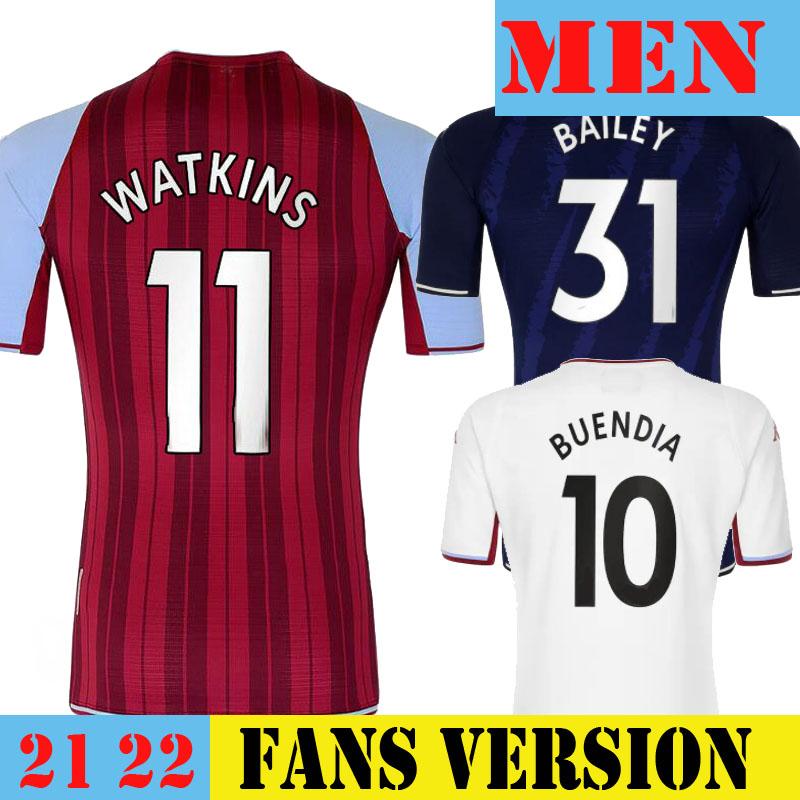 21/22 Aston Soccer Jersey BAILEY BUENDIA VILLA Men & Children Football Shirt Home 2021 2022 Kids Kit Uniform Away White Third Navy Blue INGS WATKINS McGINN DOUGLAS LUIZ
