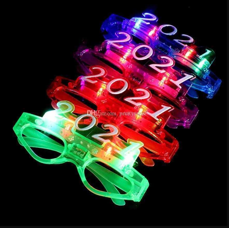 Flashing Led Glasses Luminous Light Gift Glowing Blinking Eye Wear Wedding Birthday Party 2021 New Year Gift Christmas glowing glasses
