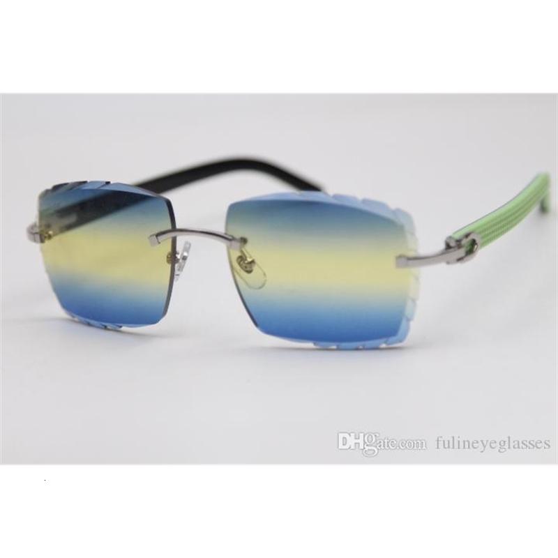 Rimless Carved lens Optical 3524012 Green Mix Black Plank Sunglasses Unisex Fashion Glasses purple Brown gold metal frame