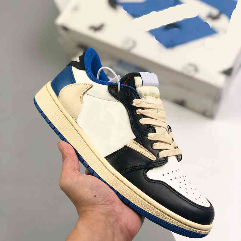 Top Quality Jumpman 1 OG 1S Low Mens Basketball Shoes Travis Scotts x Fragment White blue Lychee Skin With North Carolina Suede Womens