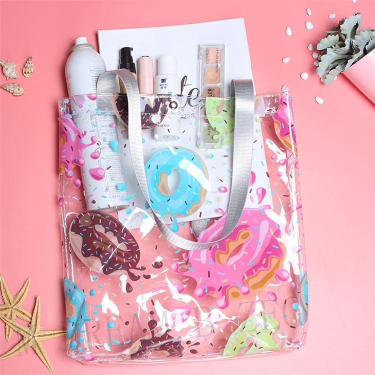 Transparent PVC Beach Bag Women Shoulder Bag Large Capacity Waterproof Swimming Bags Daily Shopping Bag Printed Handbag Travel Storage Totes