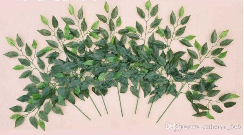 Artificial Silk Ficus Leaf Branches Ginkgo Leaves Spray Greenery Banyan Leaves Fake Foliage Home Kitchen Garden Office Wedding Wall Decor