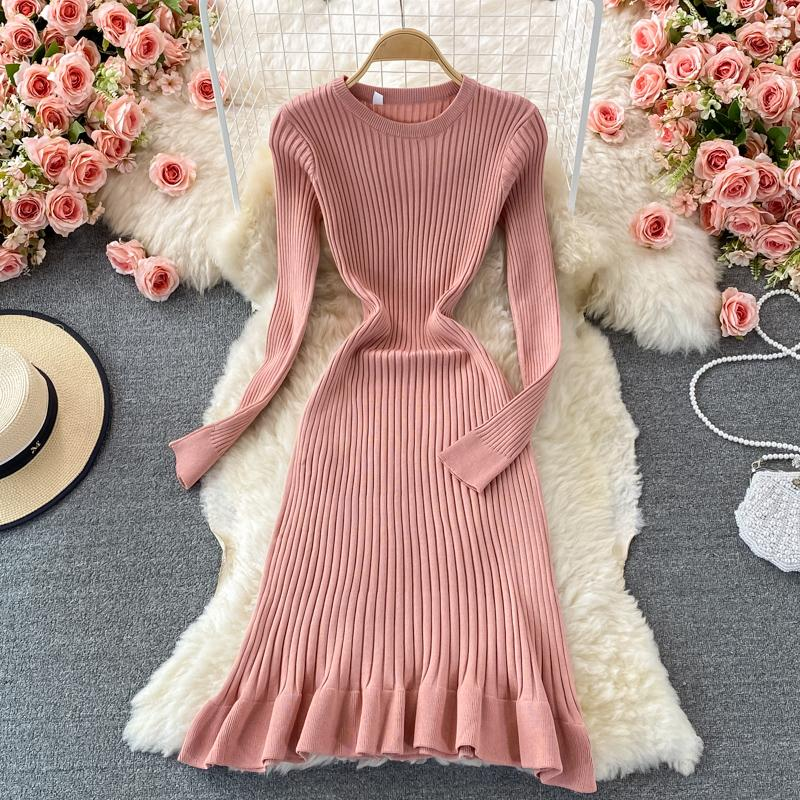 Casual Dresses Teeuiear Slim Autumn Ruffles Knitted Sweater Midi Mermaid Dress Winter Stretch Party Vestidos Women Knee-length