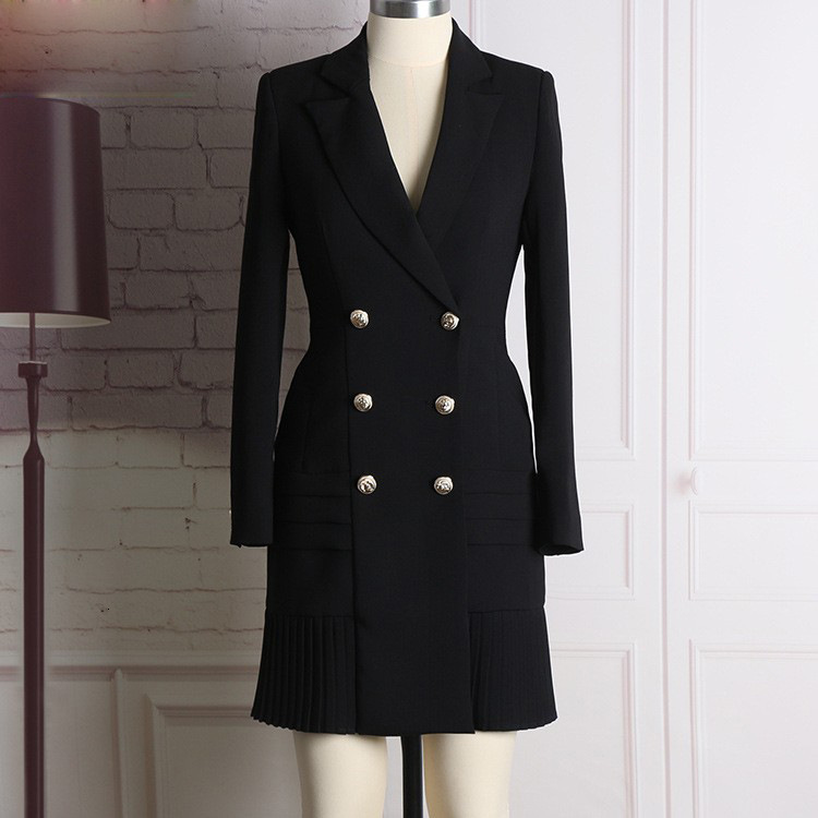 New Style Top Quality Original Design Women's Classic Dress Metal Buckles Double-breasted Long Sleeve Pleated Dress