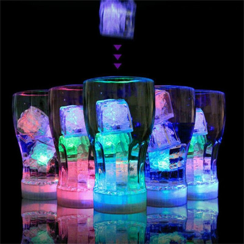 Flash Ice Cubes Water-Activated Led Flash Light Put Into Water Drink Flash Bars Wedding Birthday Christmas Festival Decor 496