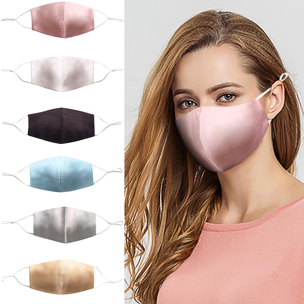 Summer Women Silk Mask Elegant Breathable Mask for Face Gold Pink Sliver Mouth Cover Masks Cosplay Decoration Lamy