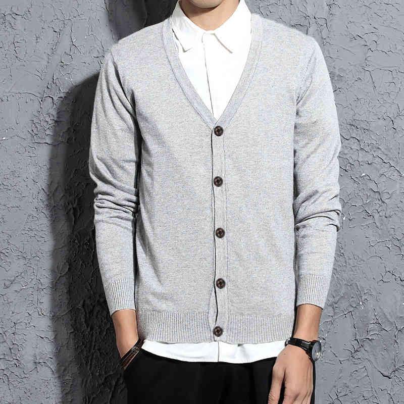 Mens Sweater with Cardigan Slim Long Sleeve Knitted Fashion Style Male Sweaters Asian Size M-3XL