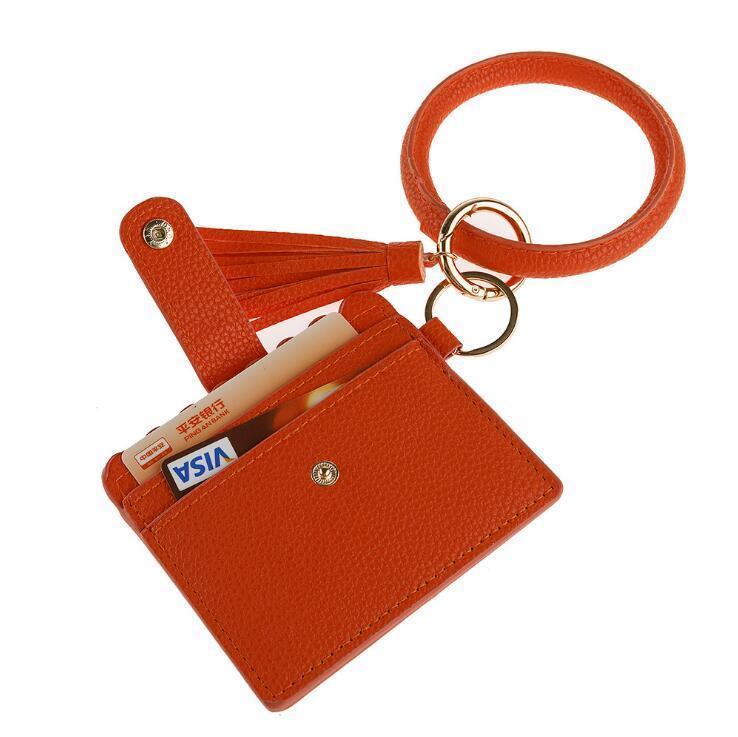 2020 Hot Designer Bag Wallet Leopard Print PU Leather Bracelet Keychain Credit Card Wallet Bangle Tassels Key Ring Handbag Lady Accessories