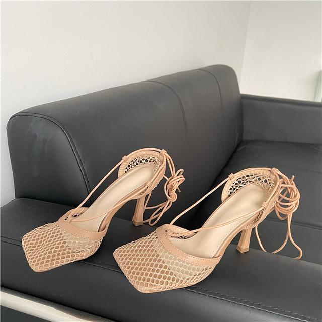 Sexy White Hollow Mesh Pumps Sandals Female Square Toe Stiletto High Heel Ankle Lace Up Cross-tied Party Dress shoes