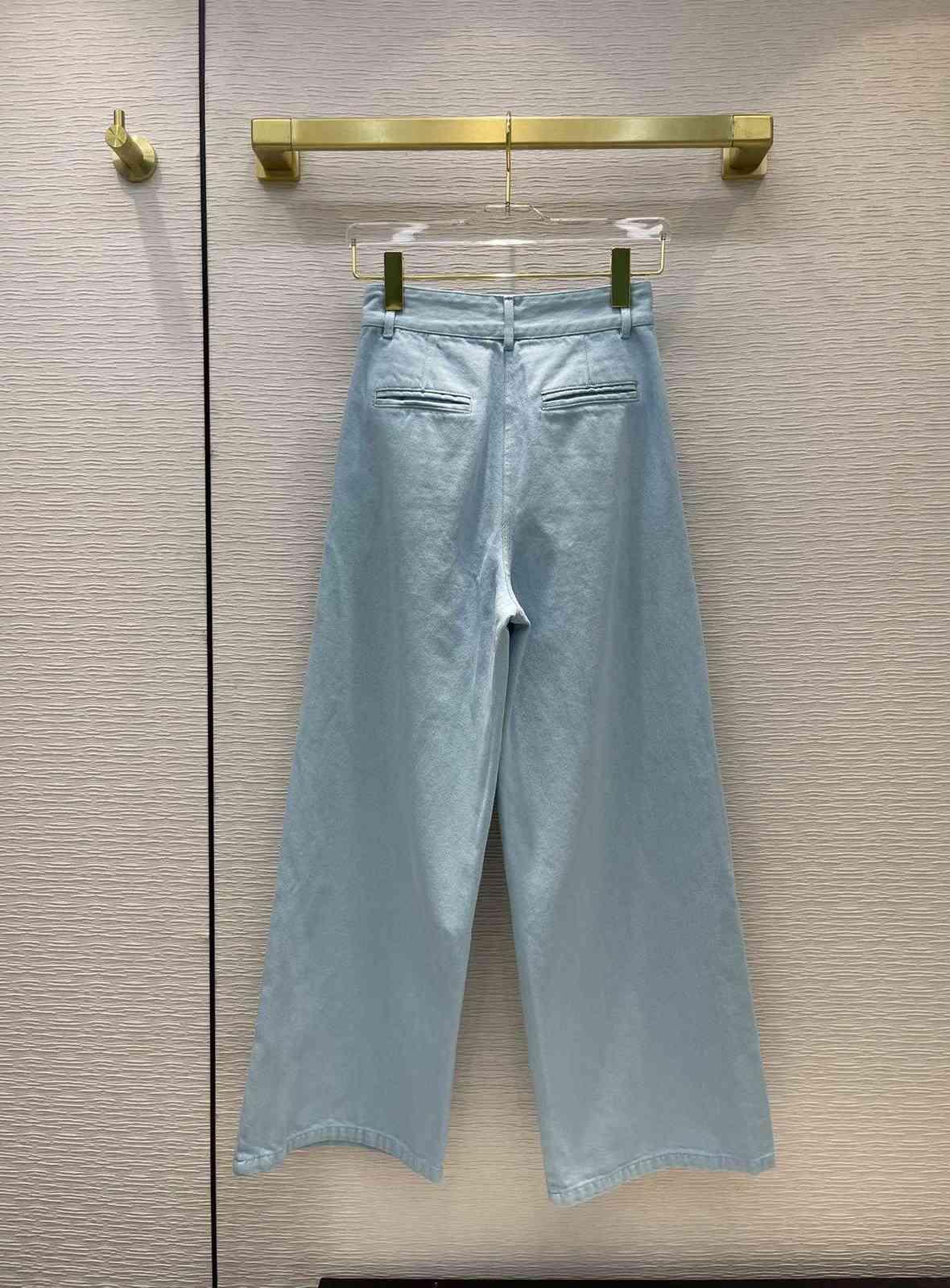 Milan Runway Jeans 2021 Autumn Fashion Designer Wide Leg Brand Same Style Luxury Women's Clothing 0611-2
