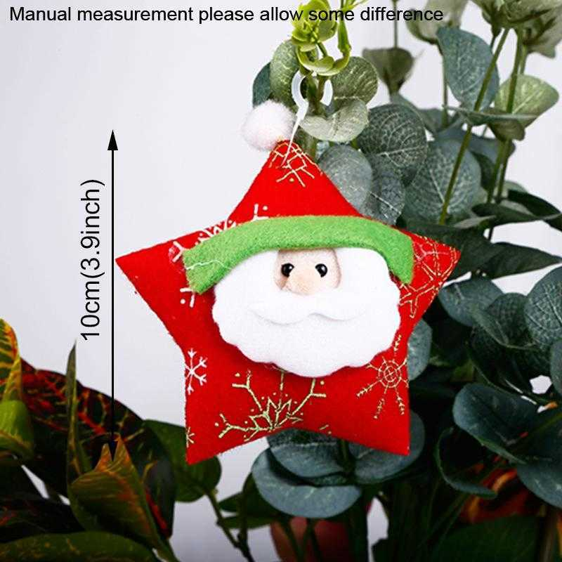 6 Styles Merry Christmas Santa Claus Ornament Moon Bell Five-pointed star Xmas Tree Hanging Pendants New Year Home Party Holiday Decoration TR0103