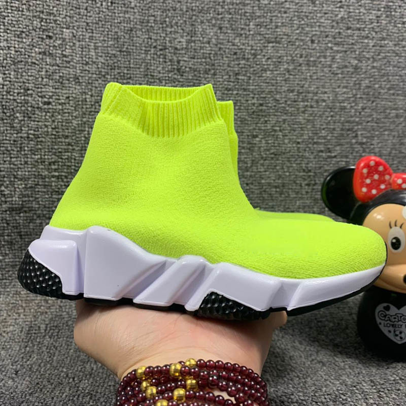 Kids Fashion Paris Boys Gilrs Speed Trainer Sock Shoes Triple Black White Red Oreo Stretch-Knit Toddler Sneakers