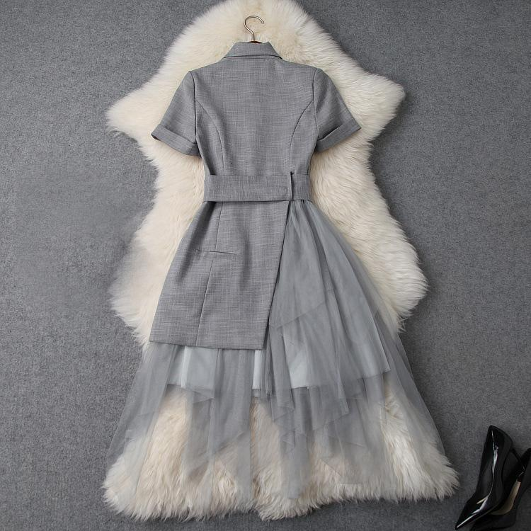 2019 Spring Summer Elegant Short Sleeve Notched-Lapel Pure Color Lace Panelled Long Maxi Dress Casual Dresses W0716T9748
