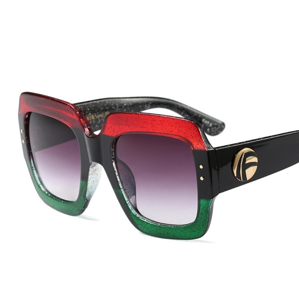 Triple color frame fashion luxury designer vintage oversized stylish women sunglasses uv proof hd lens confortable