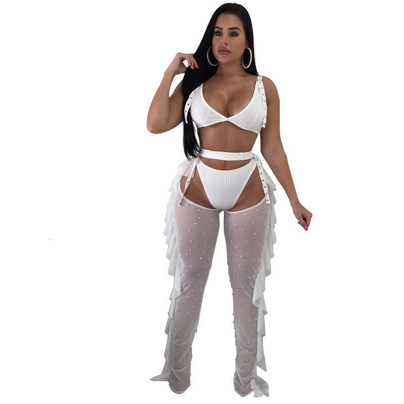women nightclub clothing 3 three piece suits Sexy bra Panties net gauze beaded ruffle trousers sets perspective clubwear streetwear plus size Summer clothes