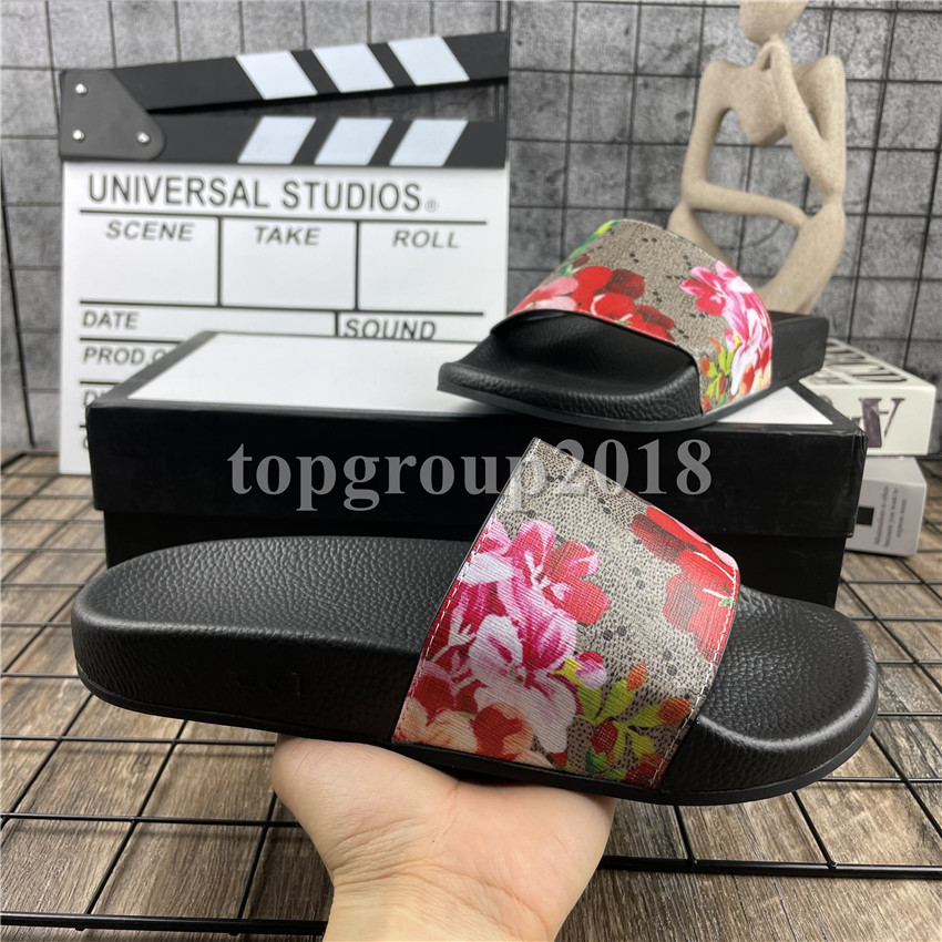 Fashion Mens Womens Scuffs Summer Sandals Slipper Beach Slide Nice Looking Slippers Ladies Comfort Home Office Shoes Print Rubber Flowers Bee 36-46 With Box
