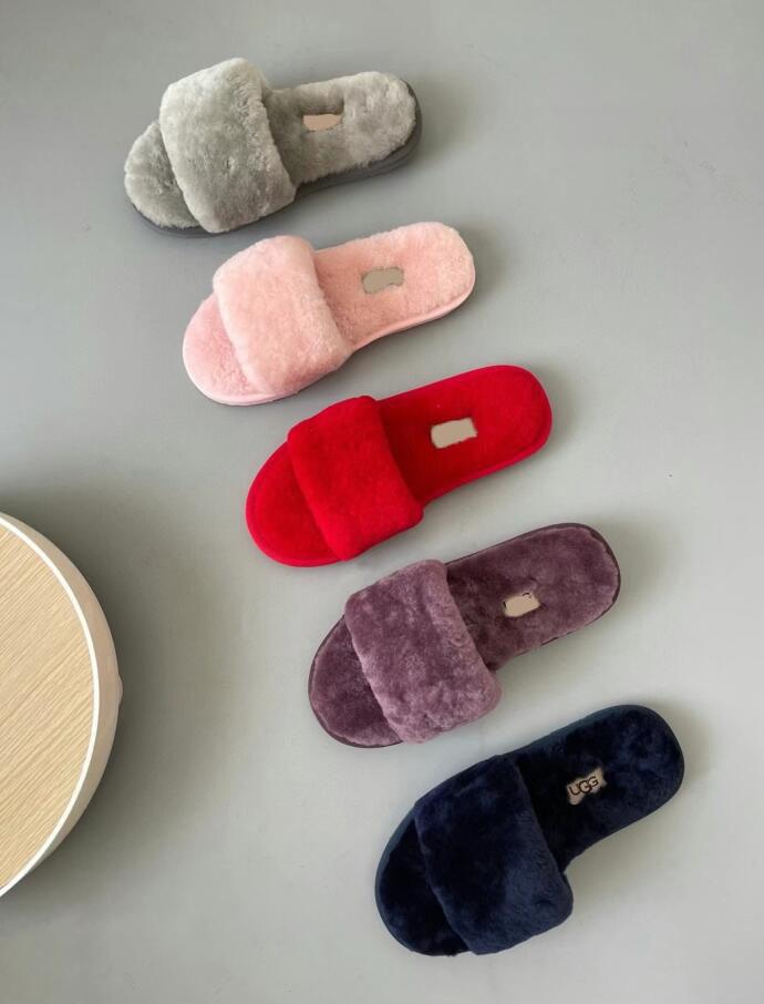 with logo-ggu Australian sheepskin one-piece plush slippers women's flat-heel home cotton slippers winter essential plush slippers plush pla
