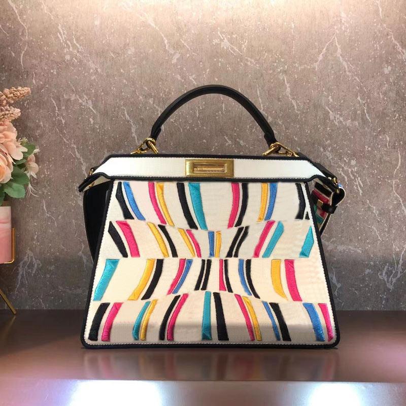 33cm 2ps Women Handbag Purse Embroidery FF Letter Tote Bag Detachable Wide Shoulder Strap Crossbody Shoulder Bag Wallet High Quality