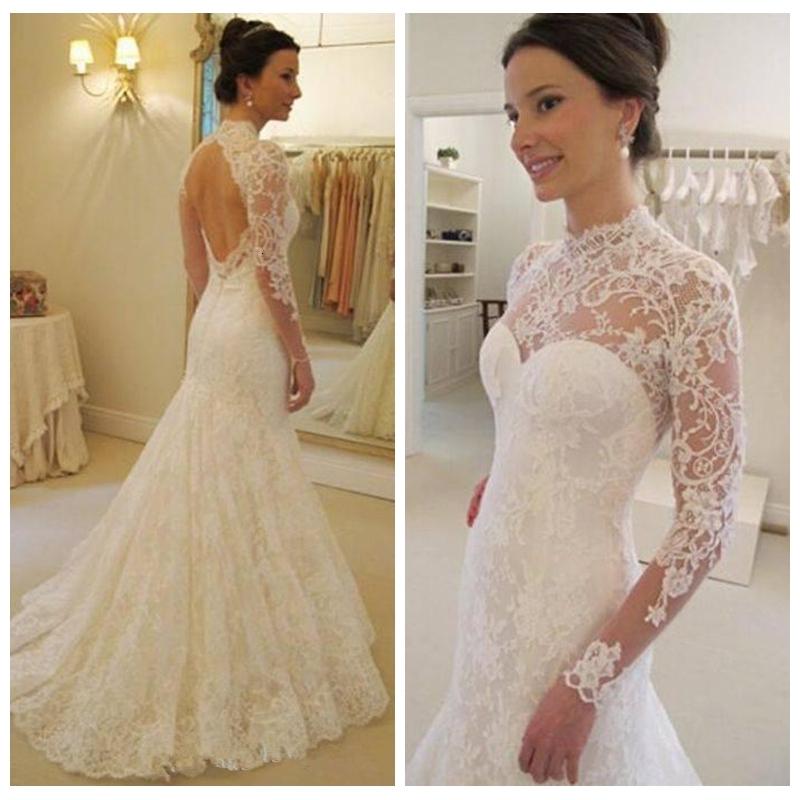 Vintage 2021 Soft Lace Slim Long Sleeves Mermaid Wedding Dresses Sexy Open Back Bridal Gowns Custom Online Vestidos De Soiree European