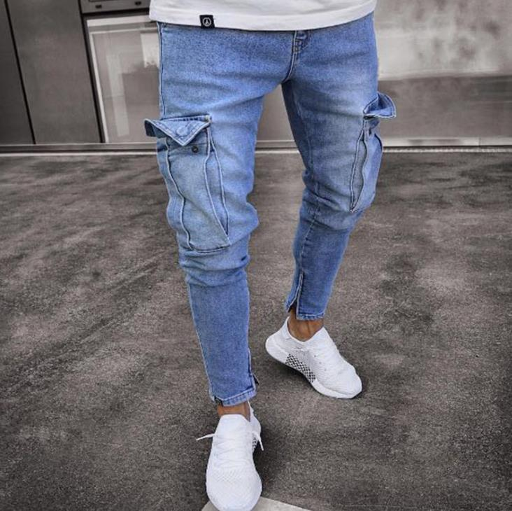 Selling Stretch Men's Jeans Trendy Knee Hole Zipper Trousers in Europe and America