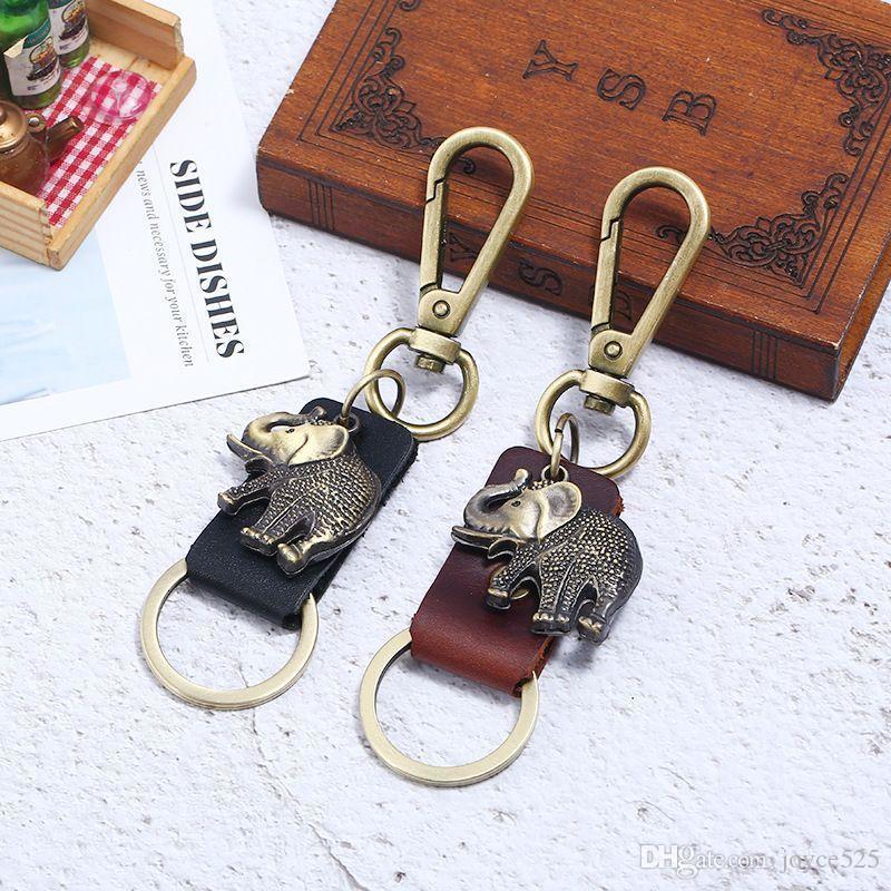 Mens Retro Creative Hollow Alloy Fish shoes Keychain Gift Punk leather Keychain Elephant fish Cartoon bear Keychains leather Pendant