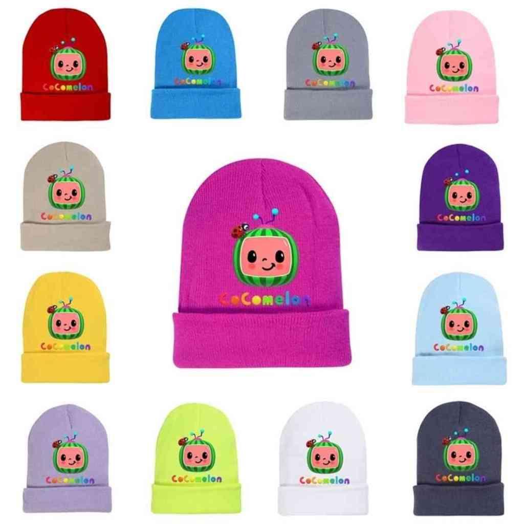 Autumn Winter Cocomelon Cartoon Knitted Hat Toddler Kids Beanies Woolen Hat Soft Cute Baby Boys Girls Crochet Skiing Skull Caps G498XRO
