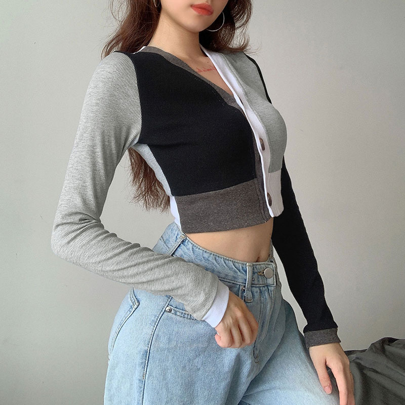 Casual Patchwork Cropped Tops T Shirt for Girls Cotton Ribbed Long Sleeve Women's T-shirts 2021 Fall Tee Shirt