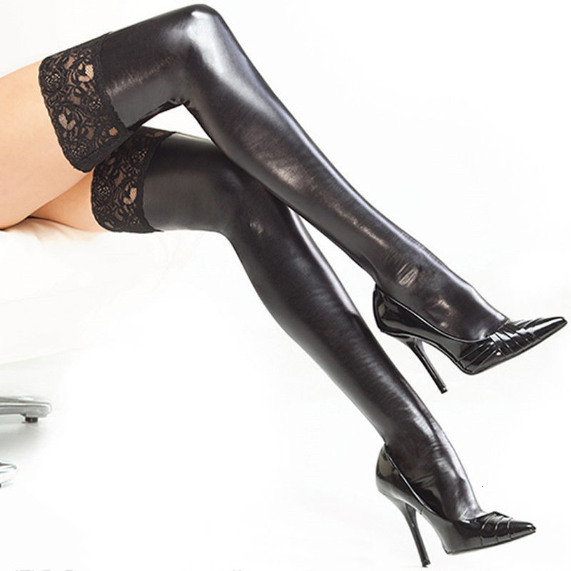 Sexy Fashion Ladies Womens Lace Leather Top Stay Up Thigh High Stockings Nightclub Pantyhose Sexy Lingerie Products