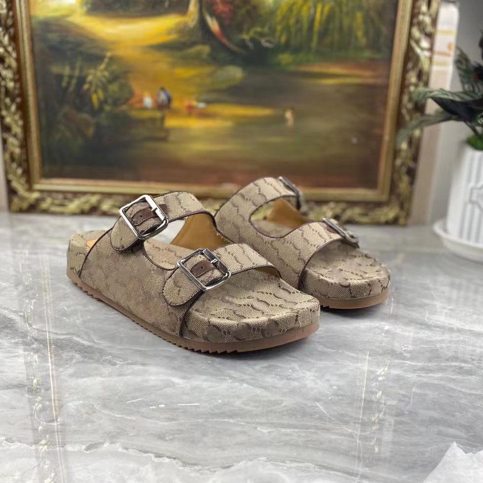 2021 Designers Men slippers slide sandal with straps Summer outdoor fashion Luxury Mens canvas slipper slides beach shoe Size EUR 38-45