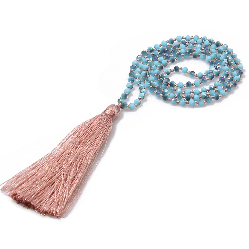 JLN Glass Crystal Mala Necklace Handmade Knot Faceted Roundelle Crystal Long Tassel Buddhism Meditation Necklace For Women Gift 651 Q2