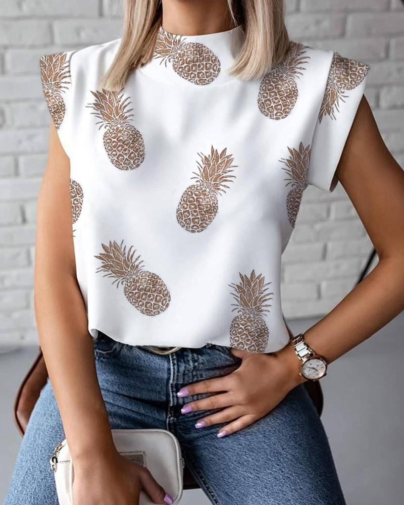 Sexy New Womens Summer T-shirt Stand Collar Lips printed Tops Tees Sleeveless Ladies Acetate Size S-2XL