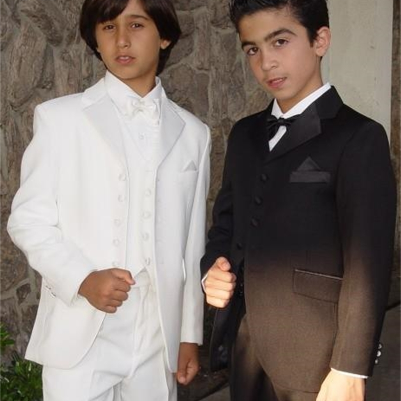 High Quality Prom Suits Notch Lapel Boy's Formal Wear Occasion Kids Tuxedos Wedding Party Suits Jacket+Pants+Vest+BowTie