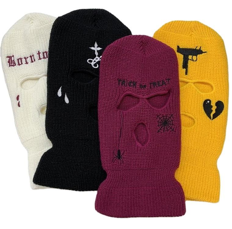Custom Wholale Black White Yellow Acrylic Face Mask Headwear Knitted Beanie Hat 3 Hole Ski Mask Balaclava