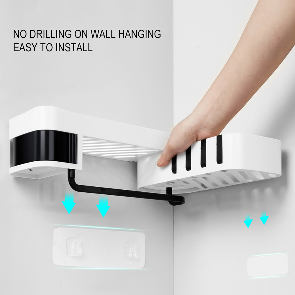 1 pcs Corner Shower Shelf Bathroom Shampoo Shower Shelf Holder Kitchen Storage Rack Organizer Wall Mounted Type bao 4 T200319