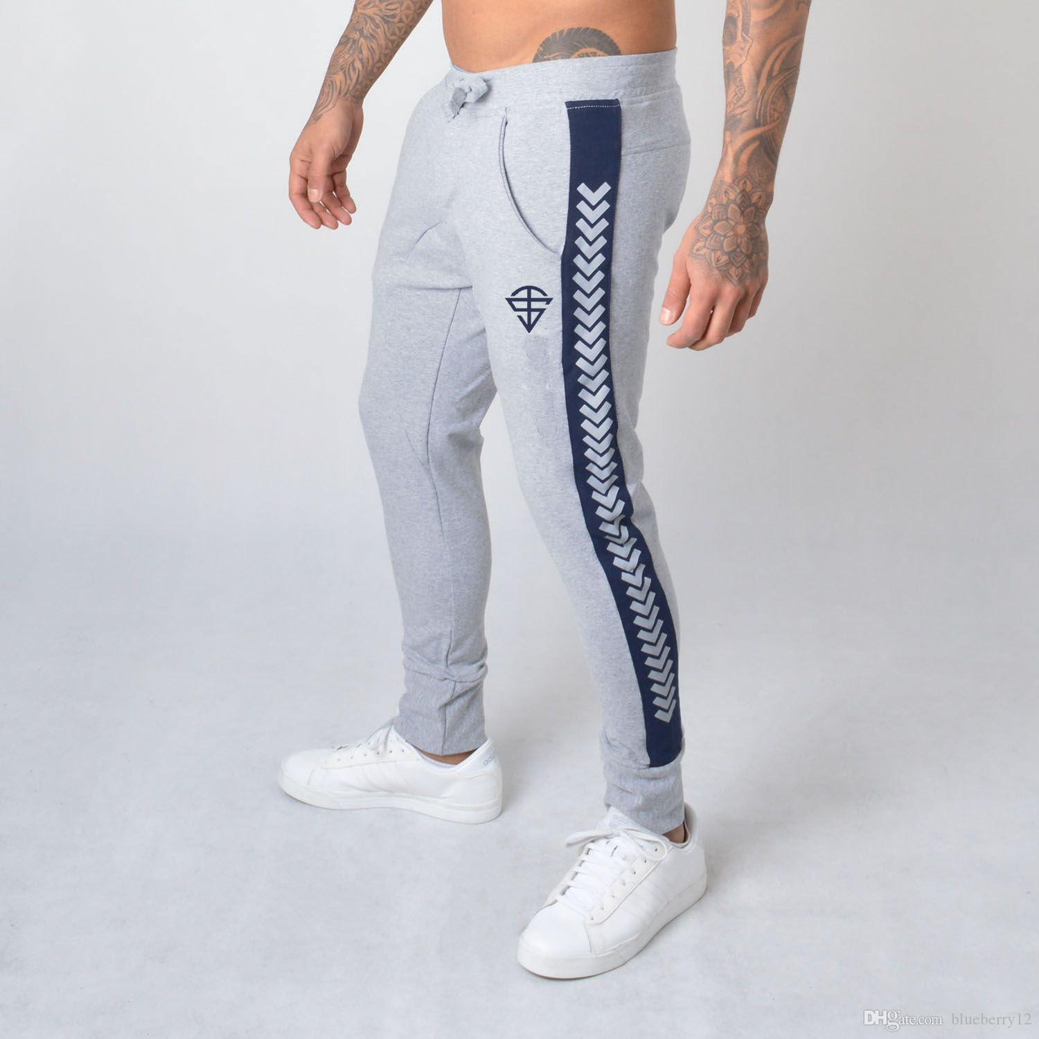 Mens Jogger Pants Sports Gym Pants Casual Elastic Cotton Mens Fitness Skinny Sweatpants Trousers Jogger Pants Outdoor with
