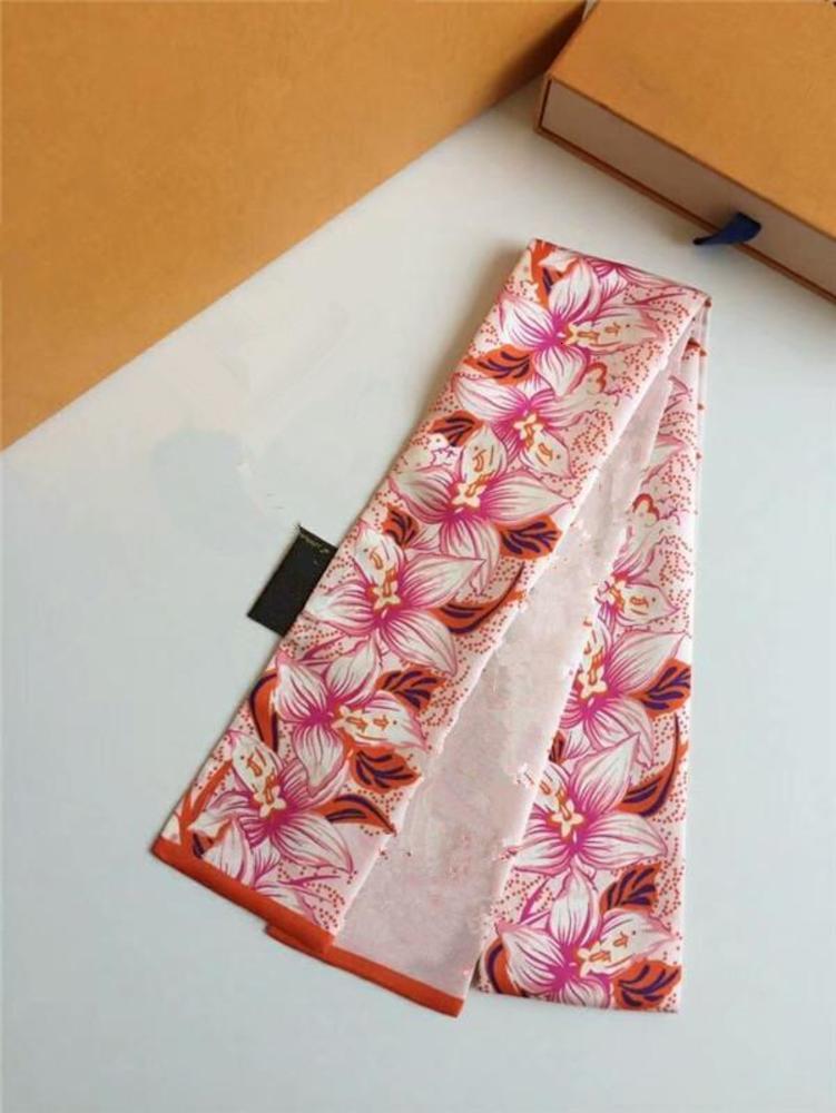 Classic Handbag Scarf Headbands Women Letter Flower Silk Scraves Bandeaux Bag Hair BANDEAU 8x120cm